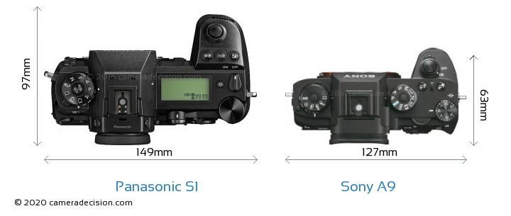 Panasonic S1 vs Sony A9 Camera Size Comparison - Top View