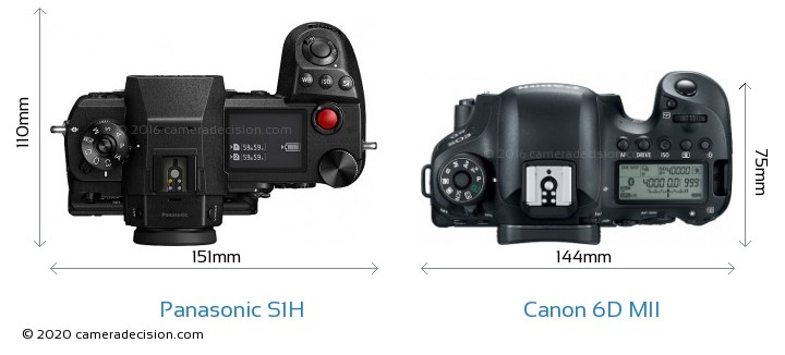Panasonic S1H vs Canon 6D MII Camera Size Comparison - Top View