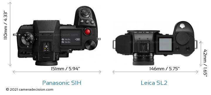 Panasonic S1H vs Leica SL2 Camera Size Comparison - Top View
