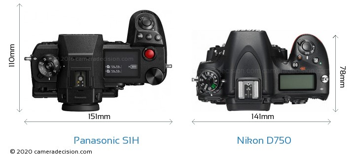 Panasonic S1H vs Nikon D750 Camera Size Comparison - Top View