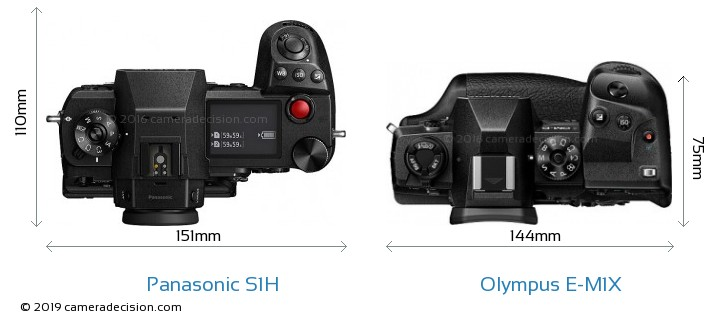 Panasonic S1H vs Olympus E-M1X Camera Size Comparison - Top View