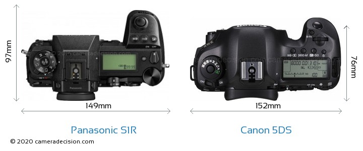 Panasonic S1R vs Canon 5DS Camera Size Comparison - Top View