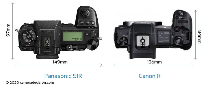 Panasonic S1R vs Canon R Camera Size Comparison - Top View