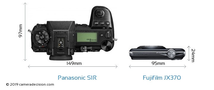 Panasonic S1R vs Fujifilm JX370 Camera Size Comparison - Top View