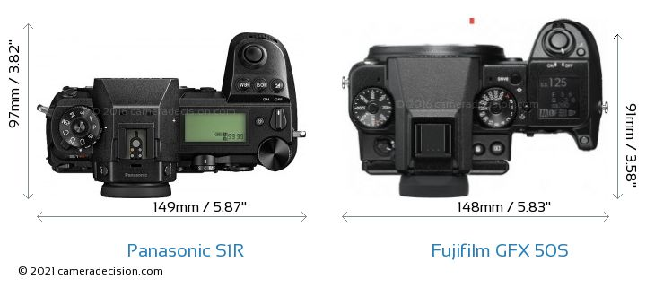 Panasonic S1R vs Fujifilm GFX 50S Camera Size Comparison - Top View