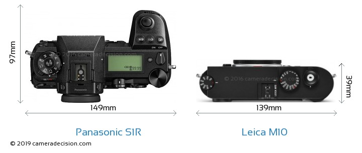 Panasonic S1R vs Leica M10 Camera Size Comparison - Top View