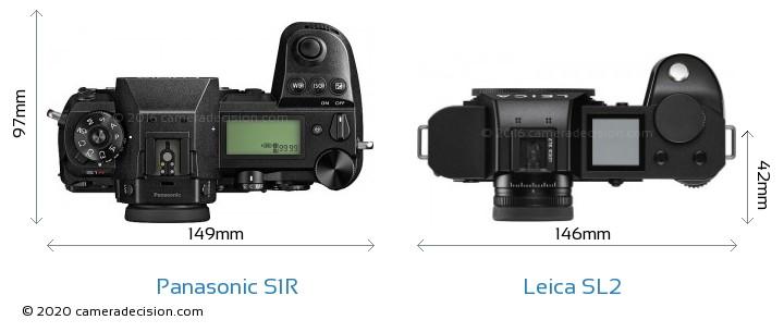 Panasonic S1R vs Leica SL2 Camera Size Comparison - Top View