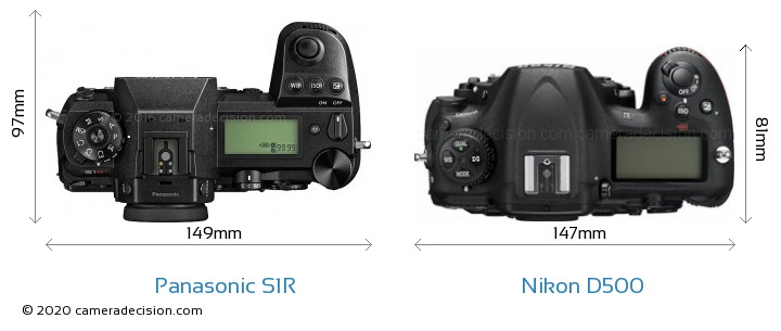 Panasonic S1R vs Nikon D500 Camera Size Comparison - Top View