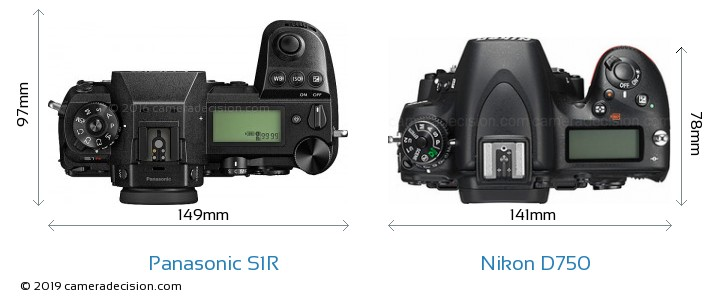 Panasonic S1R vs Nikon D750 Camera Size Comparison - Top View