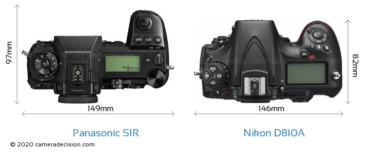 Panasonic S1R vs Nikon D810A Camera Size Comparison - Top View