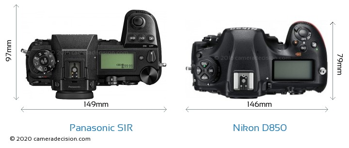 Panasonic S1R vs Nikon D850 Camera Size Comparison - Top View