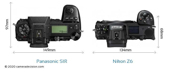 Panasonic S1R vs Nikon Z6 Camera Size Comparison - Top View