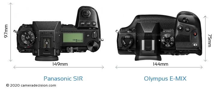 Panasonic S1R vs Olympus E-M1X Camera Size Comparison - Top View