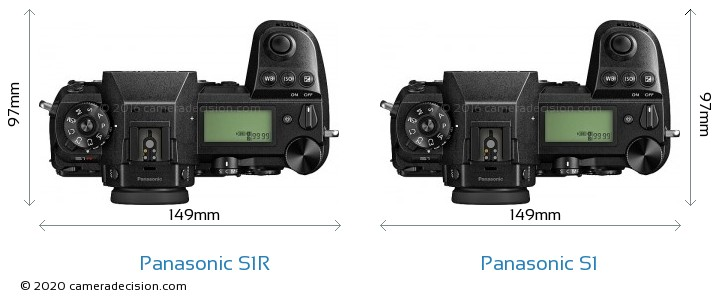 Panasonic S1R vs Panasonic S1 Camera Size Comparison - Top View