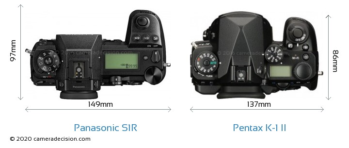 Panasonic S1R vs Pentax K-1 II Camera Size Comparison - Top View