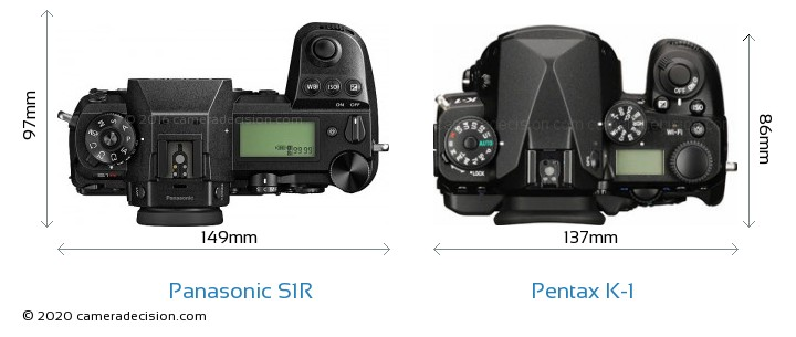 Panasonic S1R vs Pentax K-1 Camera Size Comparison - Top View