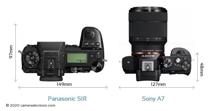 Panasonic S1R vs Sony A7 Camera Size Comparison - Top View