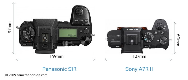 Panasonic S1R vs Sony A7R II Camera Size Comparison - Top View