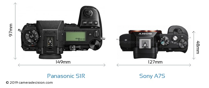 Panasonic S1R vs Sony A7S Camera Size Comparison - Top View