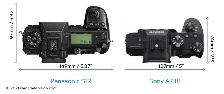 Panasonic S1R vs Sony A7 III Camera Size Comparison - Top View