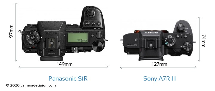 Panasonic S1R vs Sony A7R III Camera Size Comparison - Top View