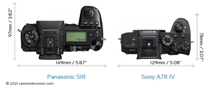 Panasonic S1R vs Sony A7R IV Camera Size Comparison - Top View