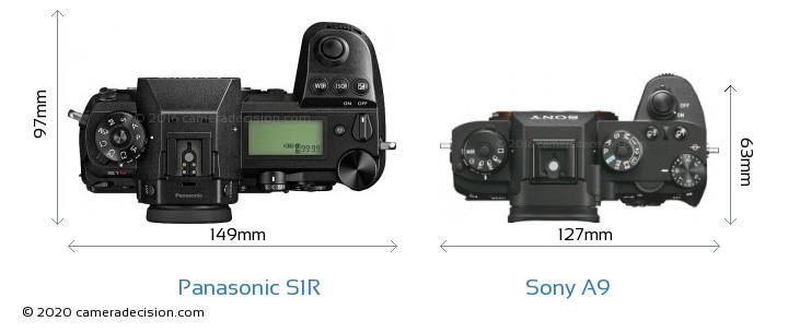 Panasonic S1R vs Sony A9 Camera Size Comparison - Top View