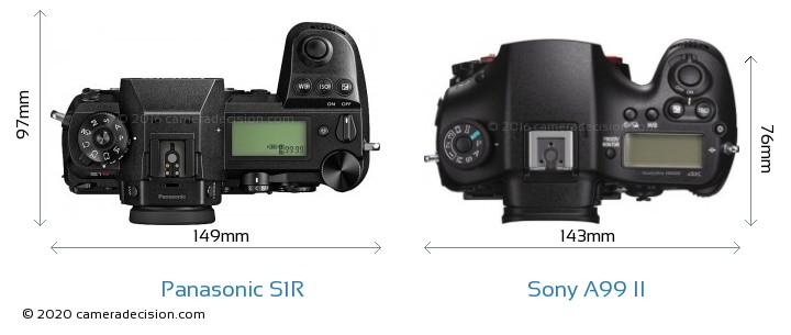 Panasonic S1R vs Sony A99 II Camera Size Comparison - Top View