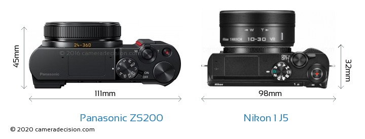 Panasonic ZS200 vs Nikon 1 J5 Camera Size Comparison - Top View