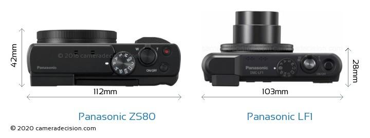 Panasonic ZS80 vs Panasonic LF1 Camera Size Comparison - Top View