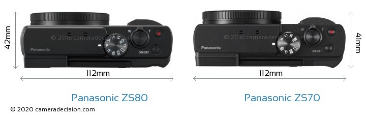 Panasonic ZS80 vs Panasonic ZS70 Camera Size Comparison - Top View