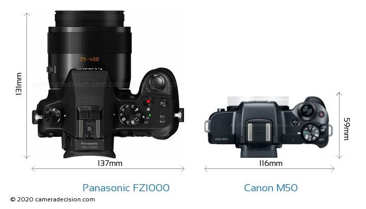 Panasonic FZ1000 vs Canon M50 Camera Size Comparison - Top View