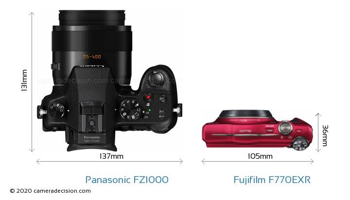 Panasonic FZ1000 vs Fujifilm F770EXR Camera Size Comparison - Top View