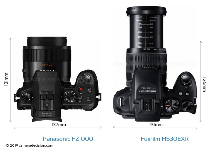 Panasonic FZ1000 vs Fujifilm HS30EXR Camera Size Comparison - Top View