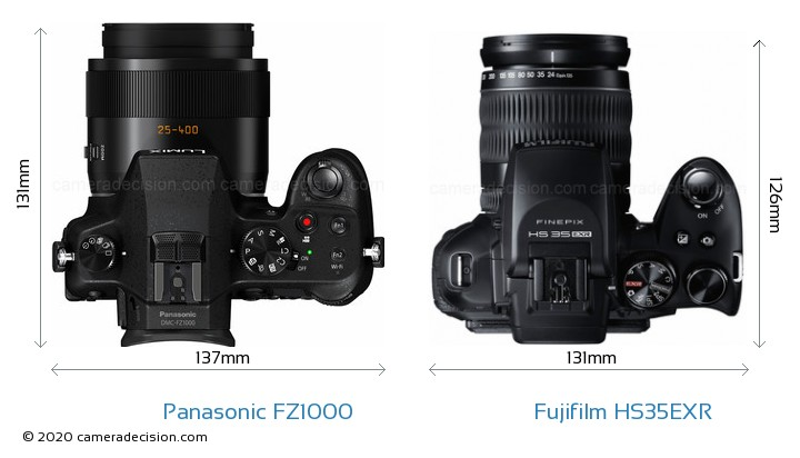 Panasonic FZ1000 vs Fujifilm HS35EXR Camera Size Comparison - Top View