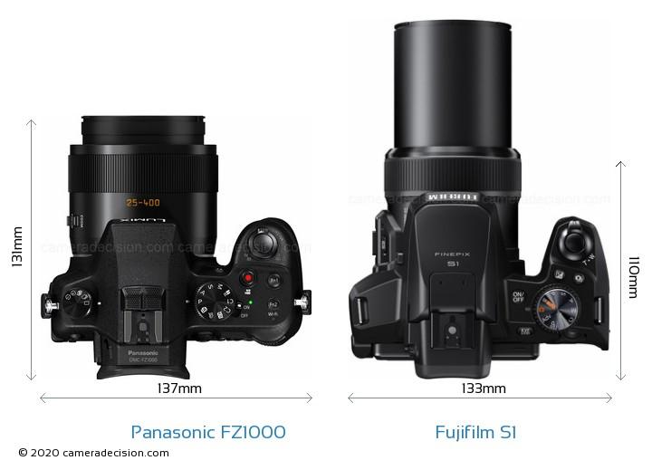 Panasonic FZ1000 vs Fujifilm S1 Camera Size Comparison - Top View