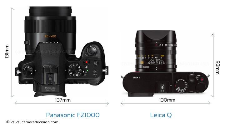Panasonic FZ1000 vs Leica Q Camera Size Comparison - Top View