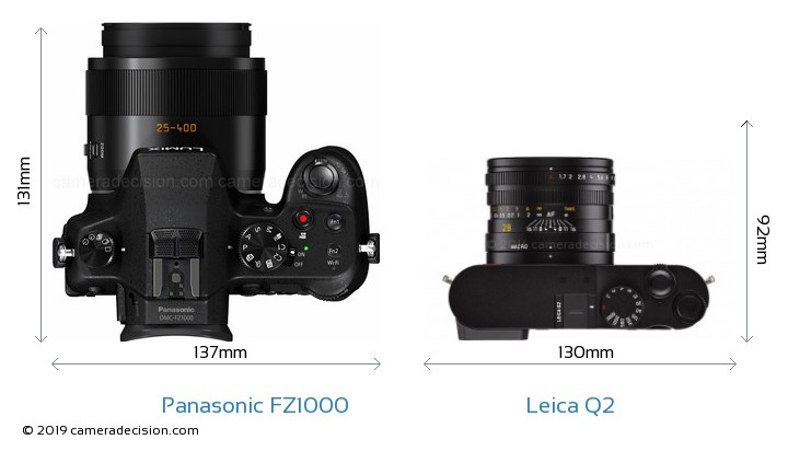 Panasonic FZ1000 vs Leica Q2 Camera Size Comparison - Top View