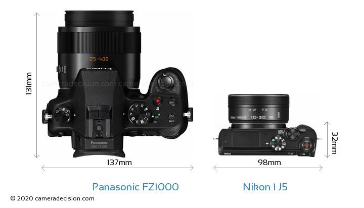 Panasonic FZ1000 vs Nikon 1 J5 Camera Size Comparison - Top View