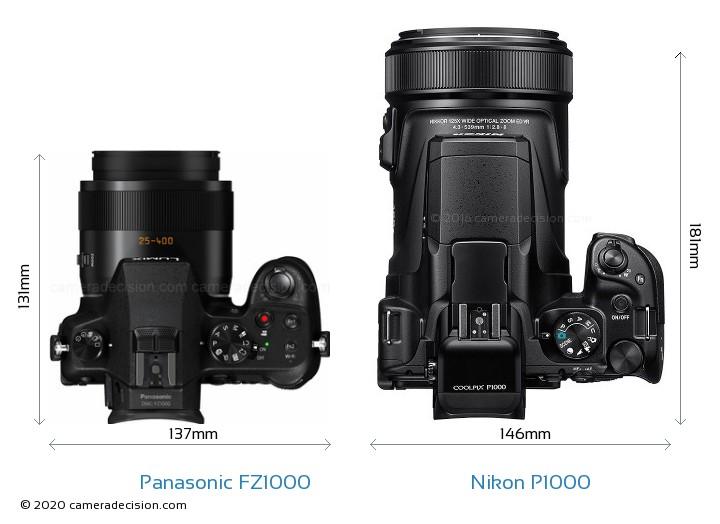 Panasonic FZ1000 vs Nikon P1000 Camera Size Comparison - Top View