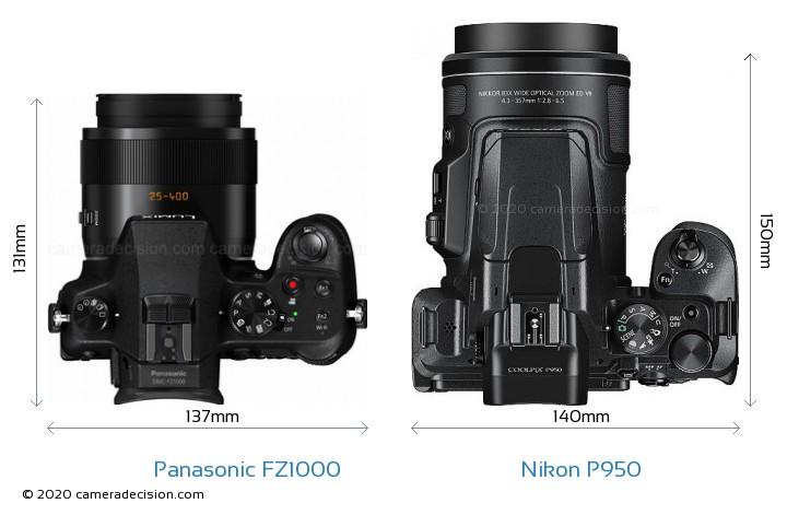 Panasonic FZ1000 vs Nikon P950 Camera Size Comparison - Top View