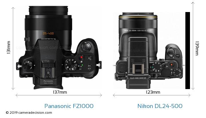 Panasonic FZ1000 vs Nikon DL24-500 Camera Size Comparison - Top View