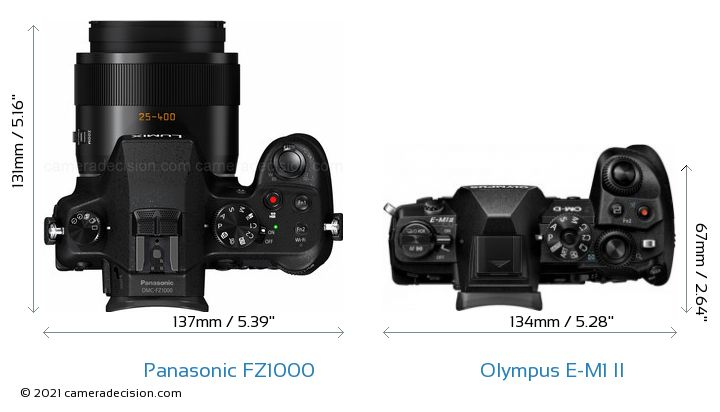 Panasonic FZ1000 vs Olympus E-M1 II Camera Size Comparison - Top View