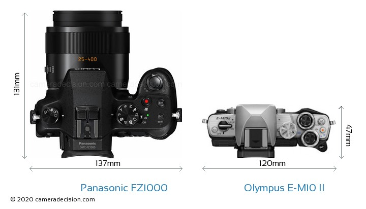 Panasonic FZ1000 vs Olympus E-M10 II Camera Size Comparison - Top View