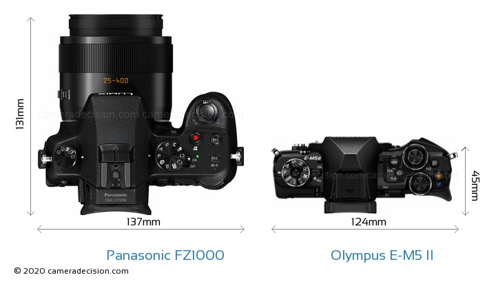 Panasonic FZ1000 vs Olympus E-M5 II Camera Size Comparison - Top View