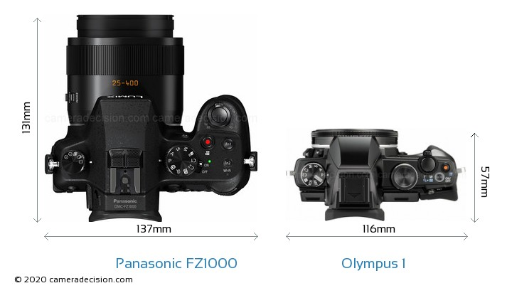 Panasonic FZ1000 vs Olympus 1 Camera Size Comparison - Top View