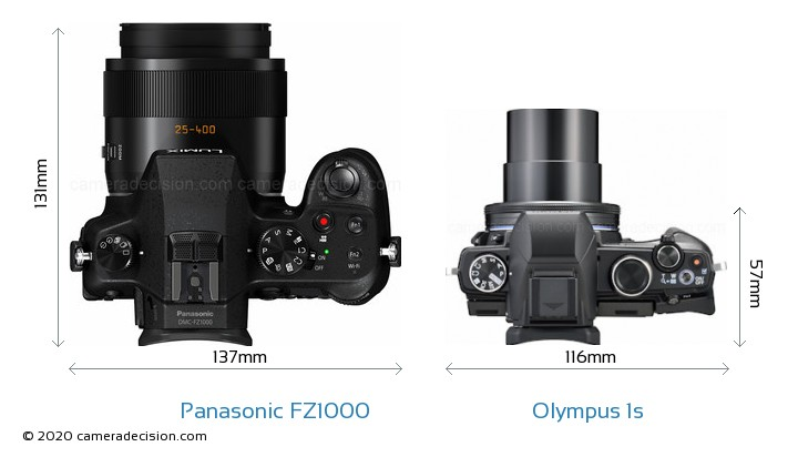 Panasonic FZ1000 vs Olympus 1s Camera Size Comparison - Top View