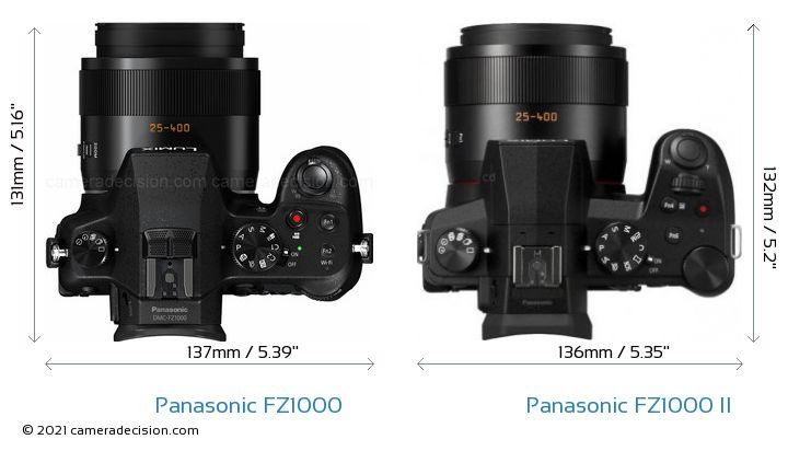 Panasonic FZ1000 vs Panasonic FZ1000 II Camera Size Comparison - Top View