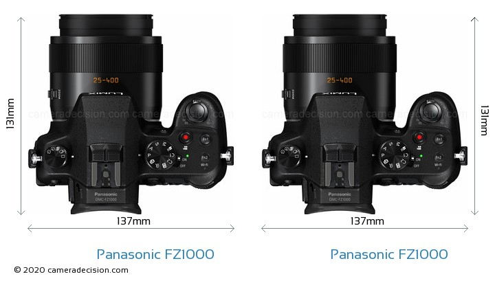 Panasonic FZ1000 vs Panasonic FZ1000 Camera Size Comparison - Top View