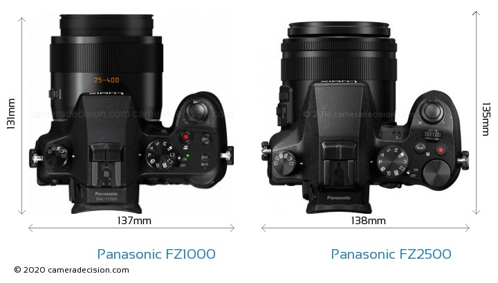 Panasonic FZ1000 vs Panasonic FZ2500 Camera Size Comparison - Top View